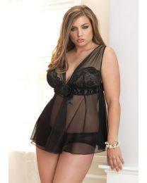 2PC. Boudoir Babydoll & Panty Black Size 1X-2X