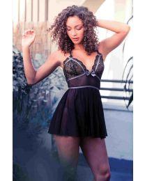 Lurex lace babydoll, string black, grey Size L