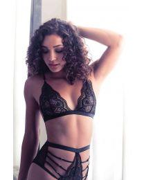 Lace Bralette and Panty Set Black Size M
